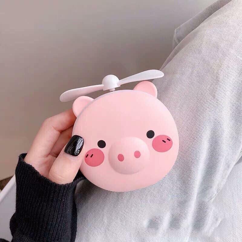 Quạt mini cầm tay kèm gương và đèn trang điểm make up - hàng nhập khẩu