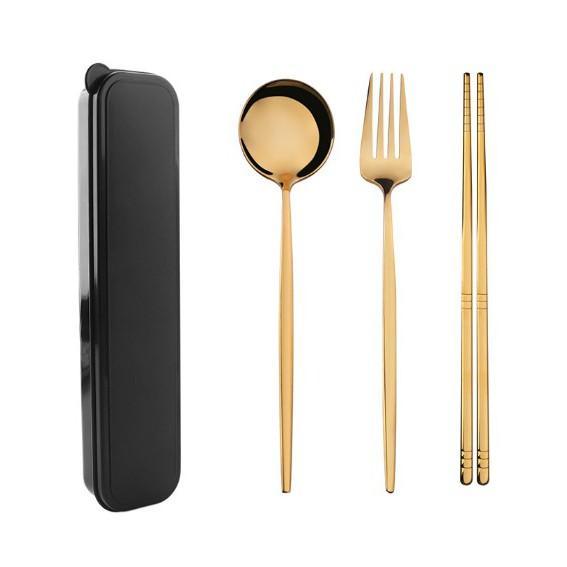 Bộ 3 món Đũa, Thìa, Dĩa Inox Cao Cấp - Màu vàng