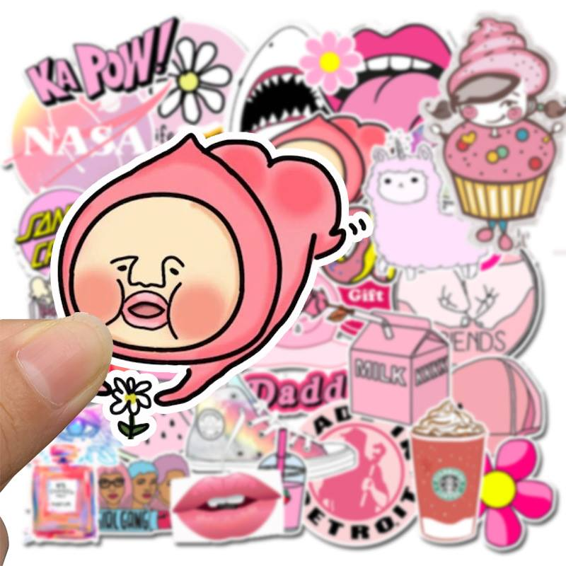 Bộ 50 Sticker chủ đề Màu Hồng dán Macbook, Vali, Mũ bảo hiểm, Điện thoại, Laptop - Hàng nhập khẩu