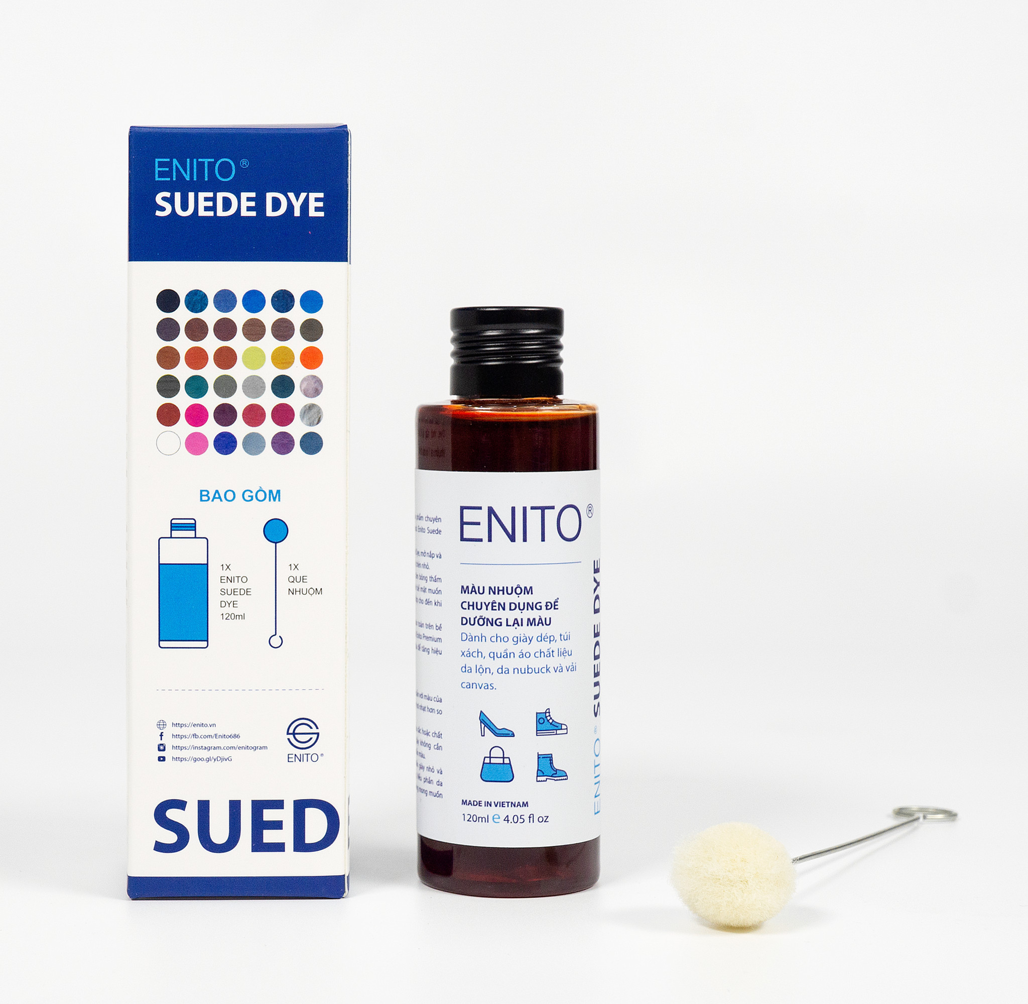 Màu Nhuộm Da Lộn Enito Suede Dye - Chuyên Dùng Để Dưỡng Lại Màu, Phục Hồi Màu Cho Giày Da Lộn