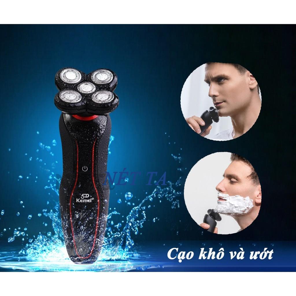 Máy cạo râu Kemei KM-6181 chống thấm nước IPX4 lưỡi nổi 5D có thể cạo khô và ướt cạo sát có màn hình LRD hiển thị thông minh, đầu tỉa phụ dùng cạo tải tóc mai, ria mép tiện lợi