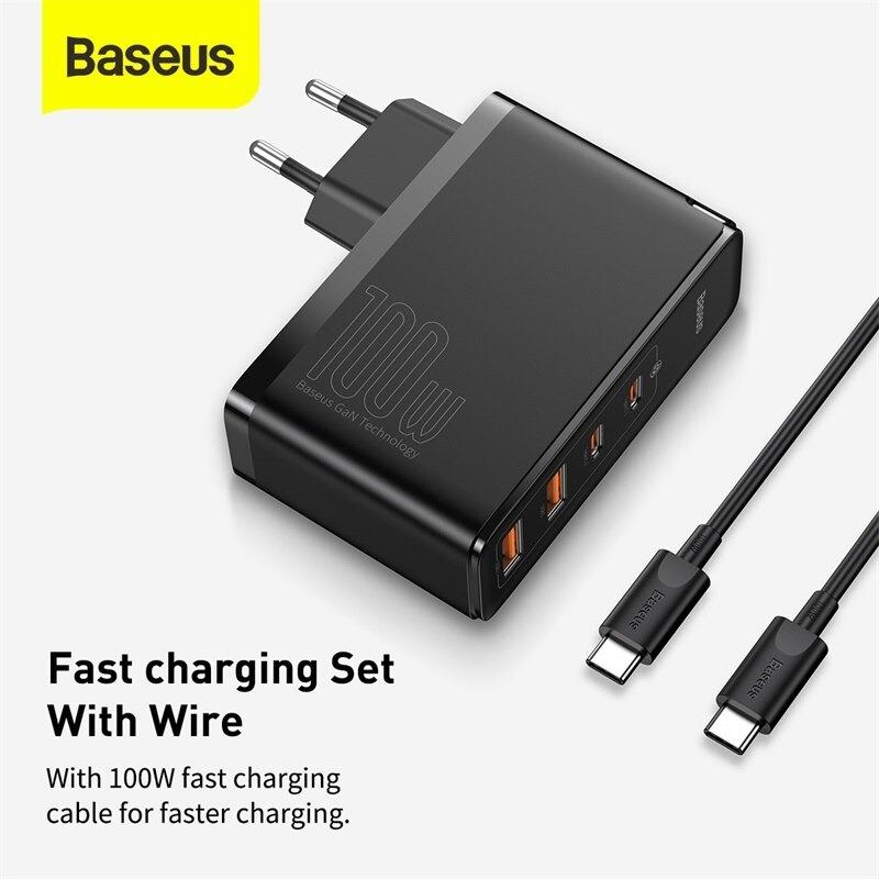 Bộ sạc nhanh Baseus GaN2 Pro Quick Charger 4 Ports 100W( Type C*2 & USB*2, PD/ QC3.0/ QC4+/ PPS/ SCP/ FCP/ AFC/ Apple 2.41/ BC1.2, Multi Quick charge protocol support) - Hàng Chính Hãng