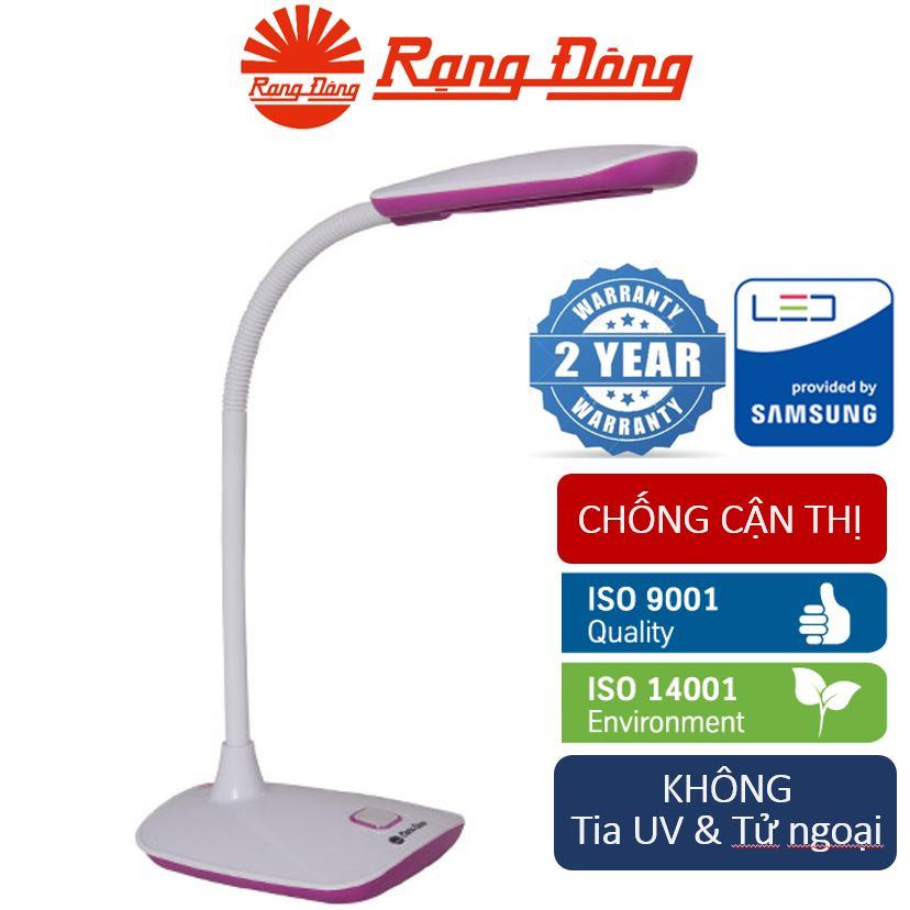 Đèn bàn (đèn học chống cận) LED 5W Rạng Đông, bảo vệ thị lực (Vỏ đèn HỒNG - TRẮNG/ Ánh sáng VÀNG) 16.ned