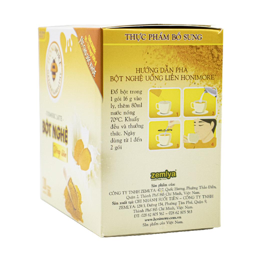 Bột nghệ uống liền 160g Honimore 3 trong 1 -  10 gói Thơm ngon, dễ uống