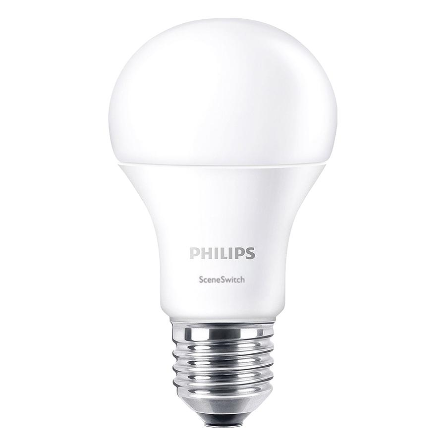 Bộ 2 Bóng Đèn Philips LED Scene Switch Đổi Màu Ánh Sáng 9.5W 3000K/6500K E27 P45 -Ánh sáng Trắng / Vàng - Hàng Chính Hãng