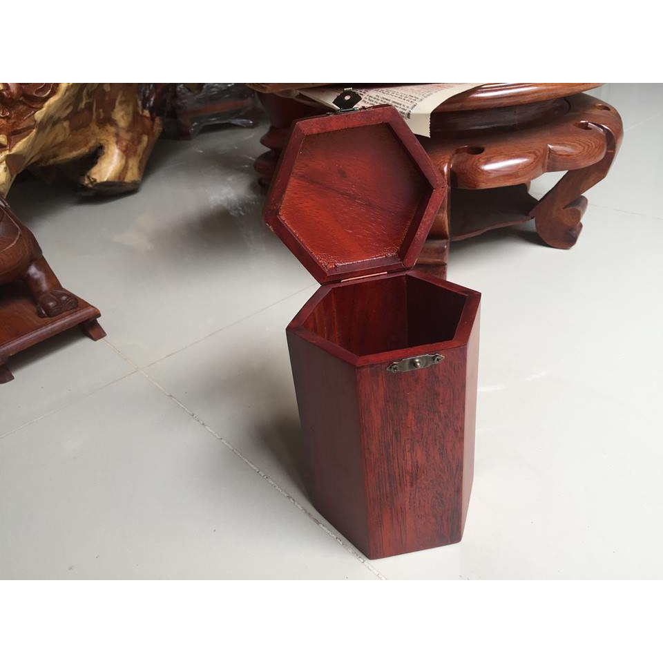 Hộp đựng trà gỗ hương, kích thước cao 18cm x rộng 12 cm x dài 12cm, nắp trà khàm cừ