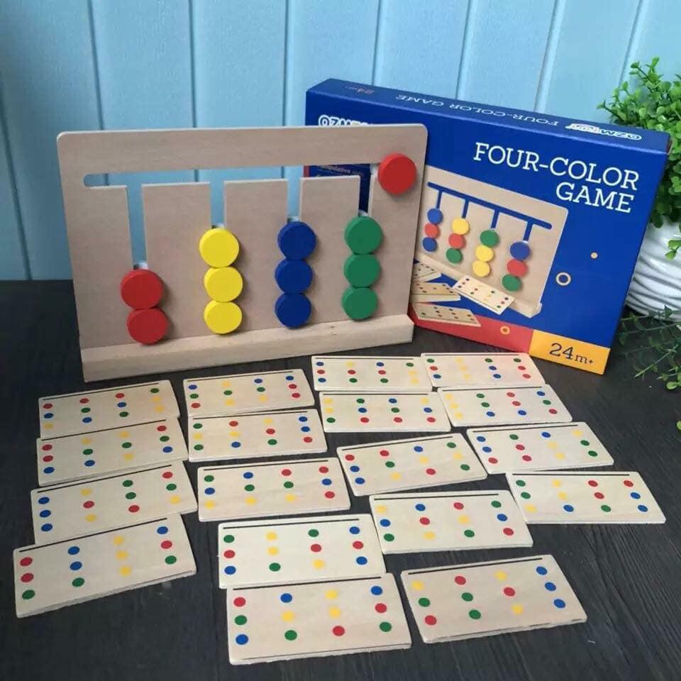 Đồ chơi gỗ - Giáo cụ Montessori Ghép hình tư duy Four color Game