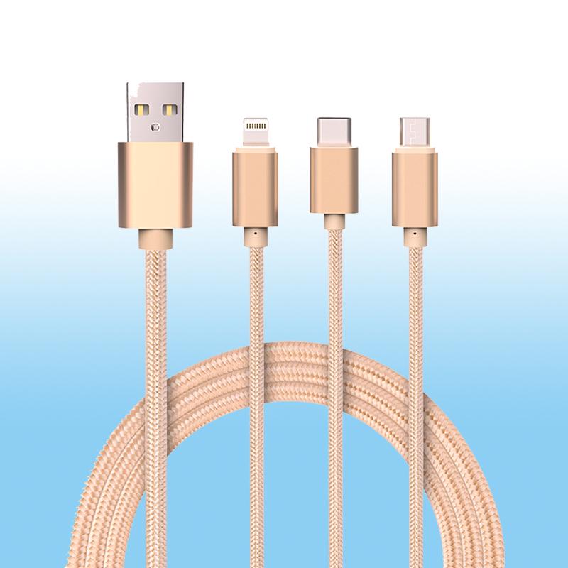Cáp sạc type C cho iPhone, S amsung cáp 3 đầu đa năng PF78