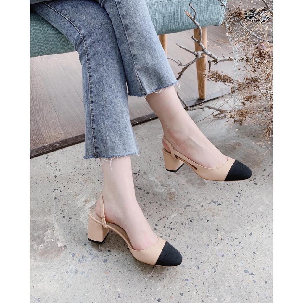 Giày sục nữ gót vuông 5p #giaynu kiểu dáng đơn giản T110