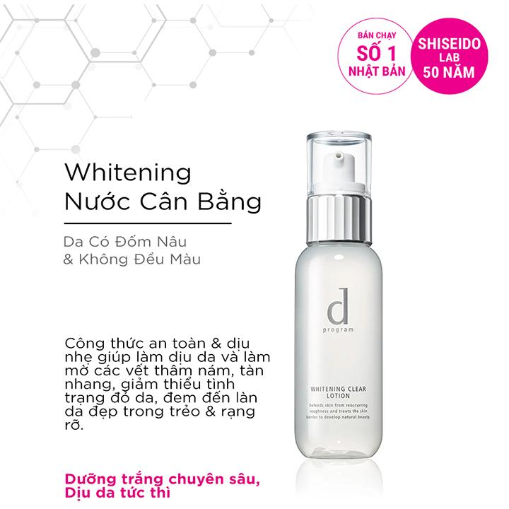 Nước cân bằng D Program dưỡng trắng da Whitening Clear Lotion 125ml
