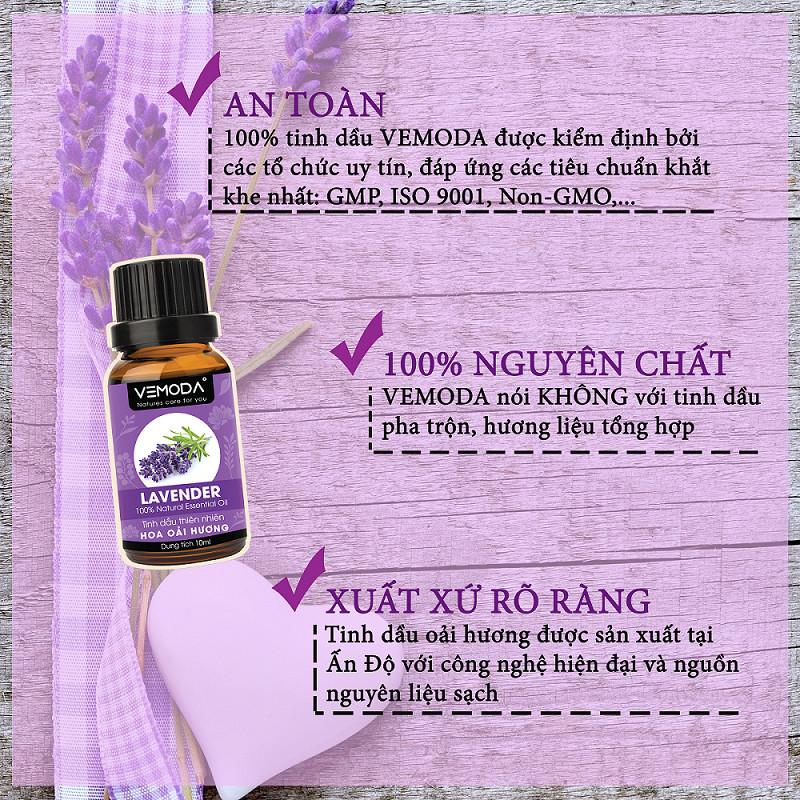 Tinh dầu Oải hương cao cấp. Lavender Essential Oil 50ML. Tinh dầu xông phòng  giúp thư giãn, giảm căng thẳng, cải thiện giấc ngủ, khử mùi, thanh lọc không khí. Tinh dầu thơm phòng Vemoda