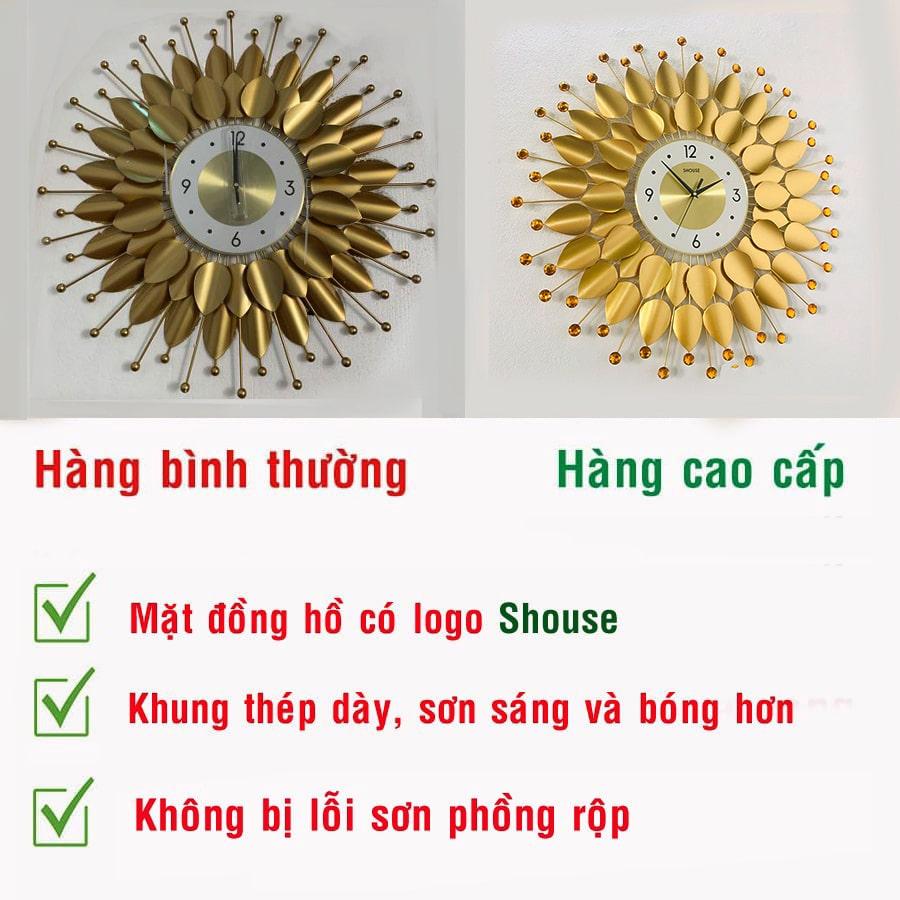Đồng Hồ Treo Tường Shouse DC666 Trang Trí Nghệ Thuật Cao Cấp hiện đại 3D kích cỡ lớn đẹp kim trôi treo phòng khách