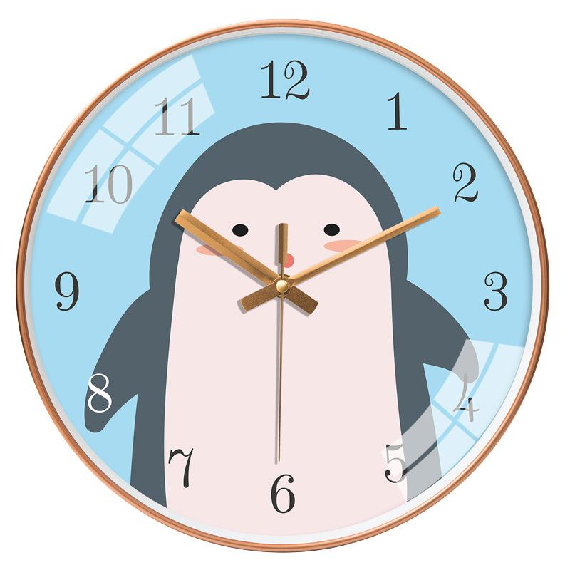Đồng hồ treo tường tròn chim cánh cụt dễ thương