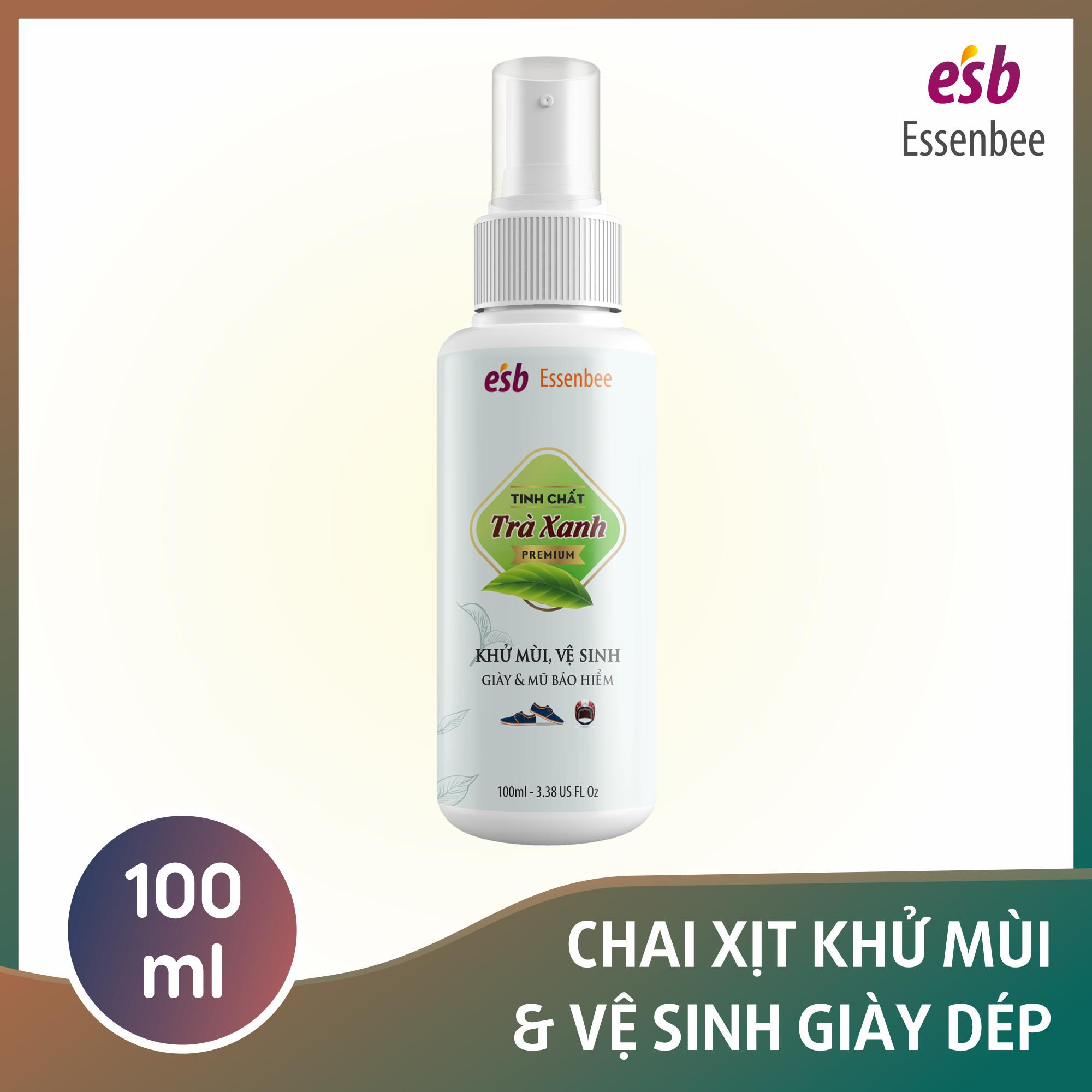 Chai xịt khử mùi giày Hương Trà Xanh - Essenbee - 100ml. Giúp vệ sinh và khử mùi giày dép hiệu quả.