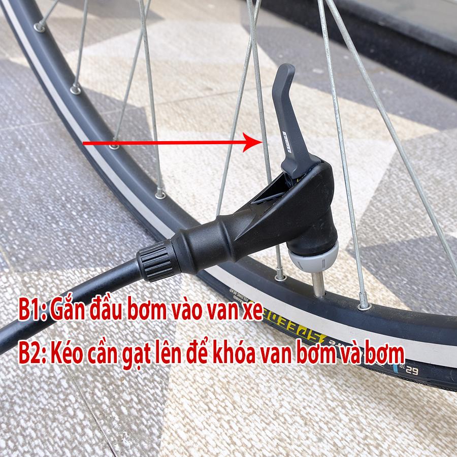 Bơm xe đạp 160PSI/11KG GF-31PV nhôm xi bóng, van thông minh - GIYO Đài Loan