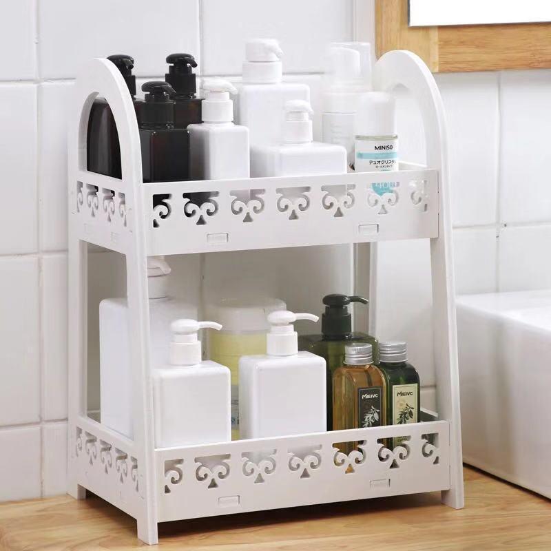 Kệ đựng mỹ phẩm kệ treo nhà tắm kệ trang trí phòng tắm kệ để xà bông khăn tắm bằng tấm gỗ nhựa composite chịu nước màu trắng sang trọng KPT245, đầy đủ phụ kiện treo kèm theo(không cần khoan tường) - Tặng kèm băng đô trang điểm  bằng nhung/lụa màu ngẫu nhiên