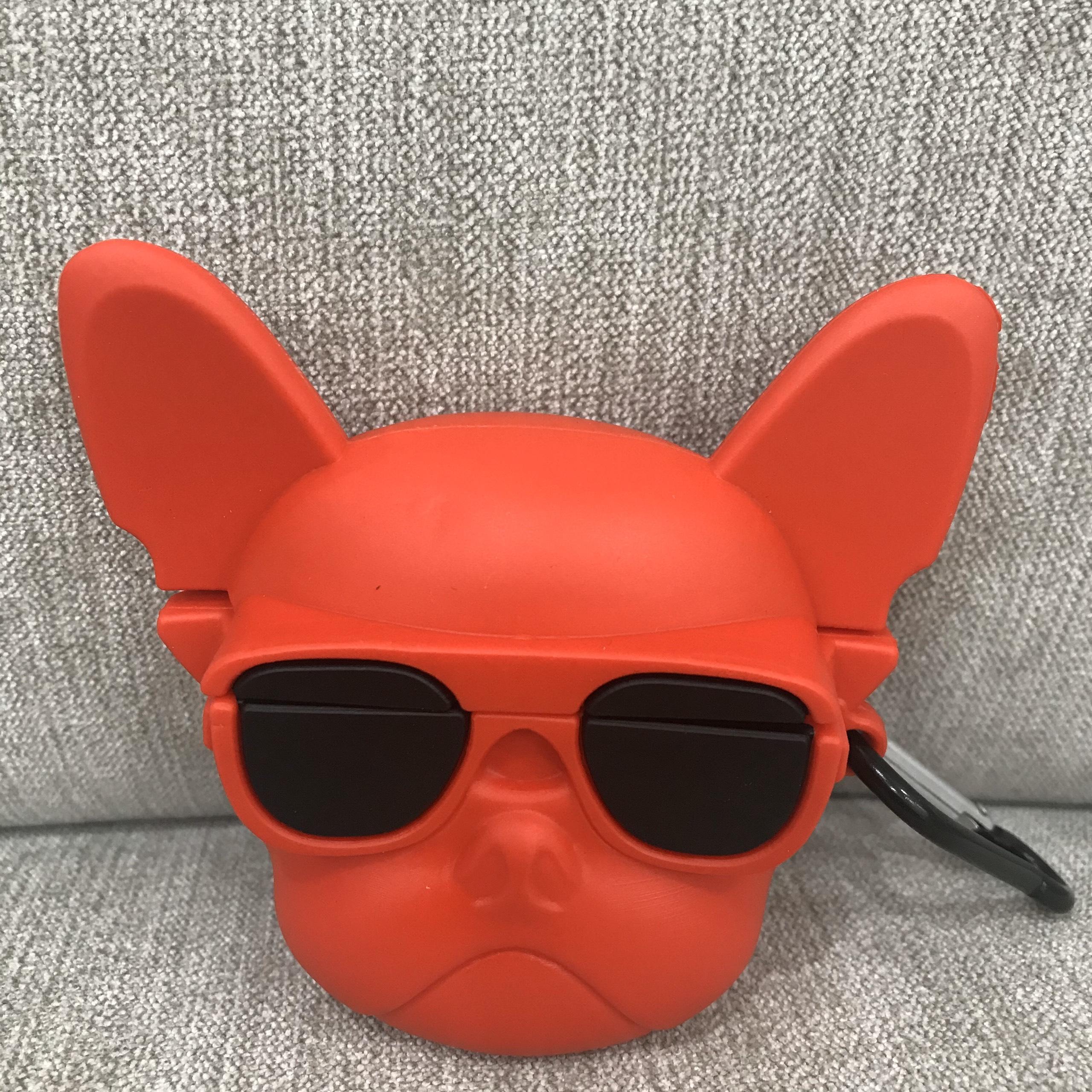 Case Airpods Pro Cao Cấp - Ốp Bảo Vệ Dành Cho Airpods Pro - Pull Dog Đỏ Đeo Kính Đen - Cool Ngầu