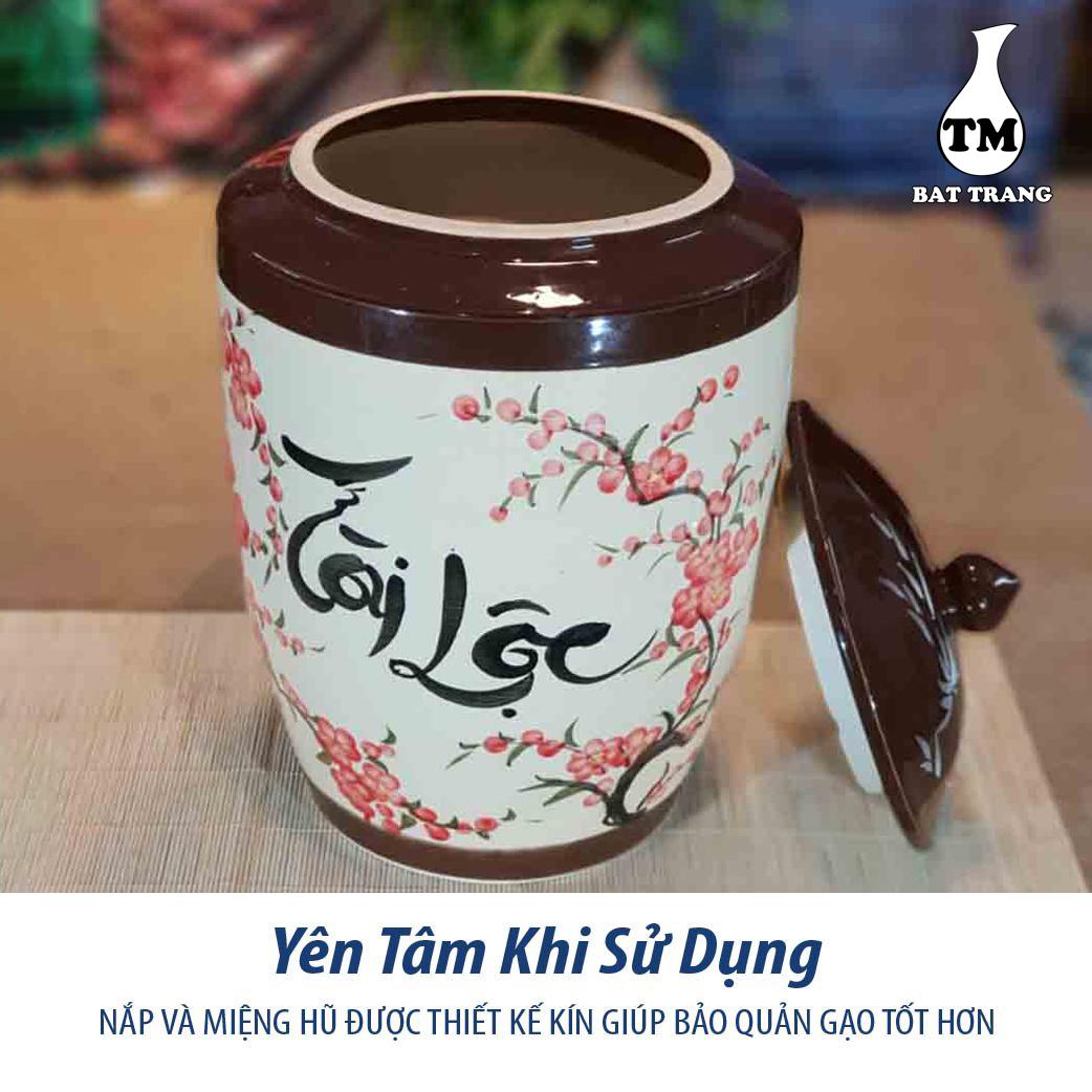 Hủ sứ đựng gạo, ngâm rươu, chứa thực phẩm khô gốm sứ Bát Tràng chữ Tài Lộc nắp nhọn