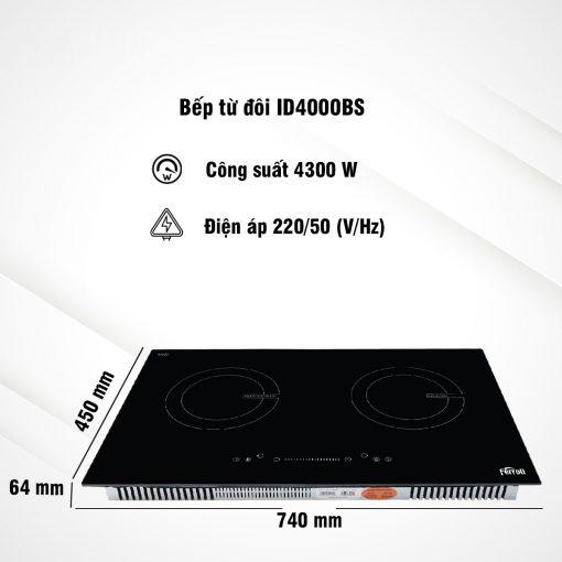 Bếp Âm Từ Đôi Ferroli ID4000BS (74 cm) - Hàng Chính Hãng