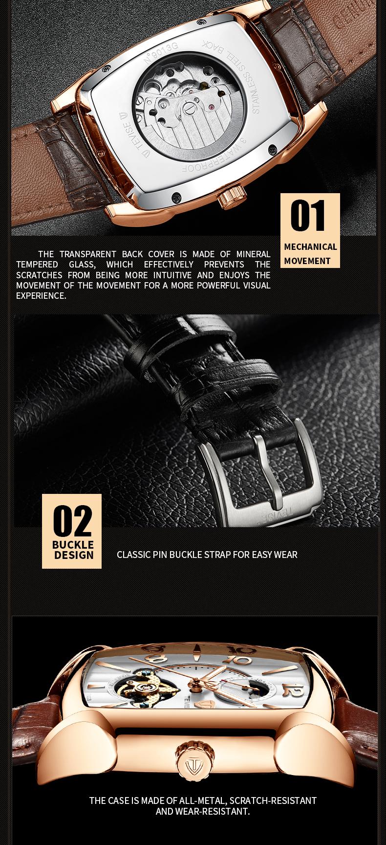 Đồng hồ cơ lộ máy mặt vuông Tevise T802B dây da