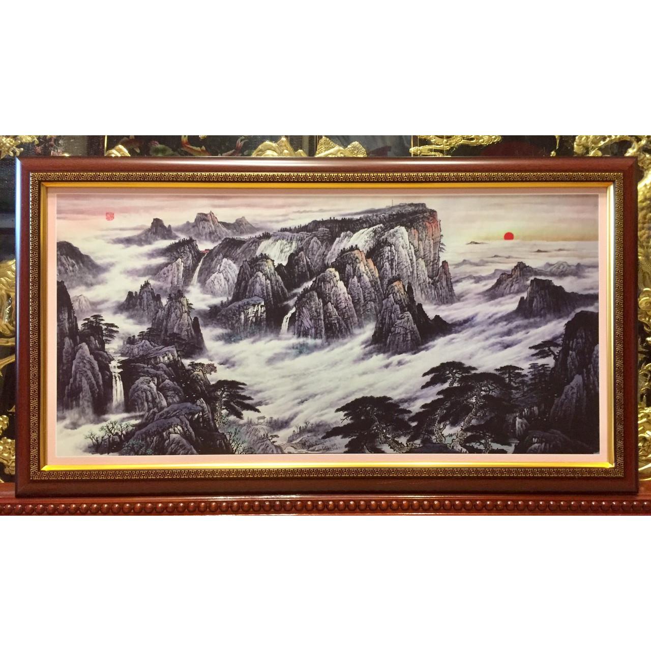 Tranh phong thủy, thủy mặc  núi non trùng điệp - (48x88cm)