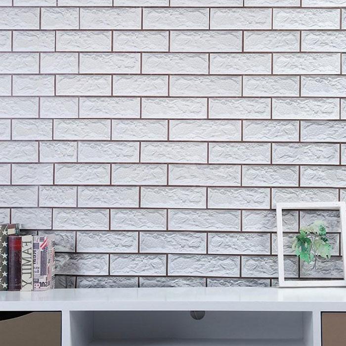 5m Giấy dán tường gạch trắng có keo sẵn