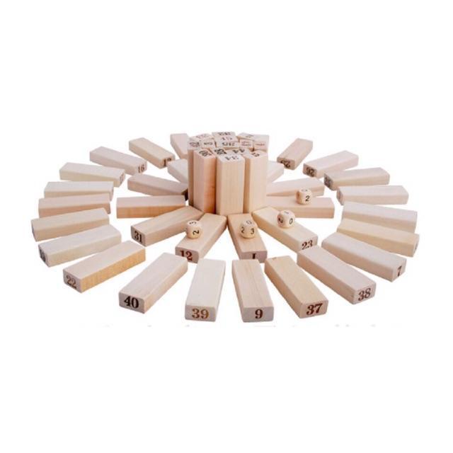Bộ đồ chơi rút gỗ, đồ chơi gỗ thông minh, trò chơi rút gỗ Wiss Toy 48 thanh gỗ tự nhiên, game rút gỗ kèm 4 xúc xắc + Tặng Kèm Móc Khóa 4Tech.