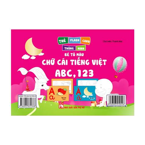 Thẻ Flash  Thông  Minh Bé Tô Màu Chữ Cái Tiếng Việt  ABC,123 - Thẻ in 2 Mặt, Kích Thước 11 x 16 cm, Song Ngữ Anh Việt (44 Thẻ)