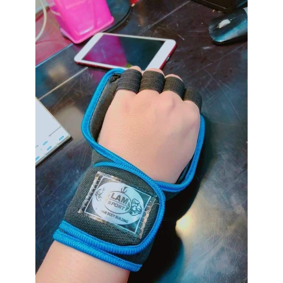 găng tay tập gym , tạ có bảo vệ cổ tay dạng cuốn-