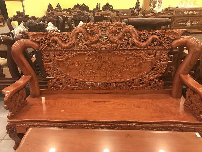 Bộ bàn ghế chạm rồng bát tiên gỗ hương đá tay 12, 6 món