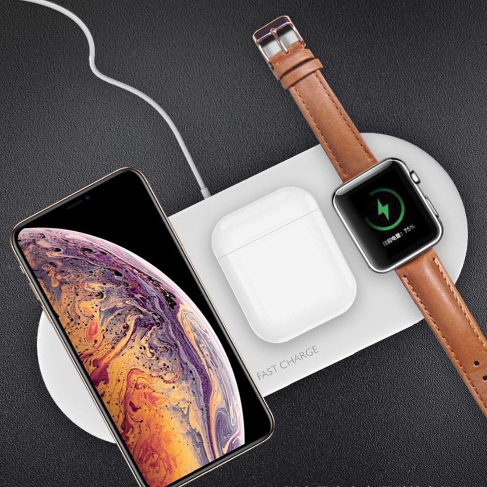 Đế sạc nhanh không dây 3 in 1 cho Apple Airpods, Apple Watch, Iphone, Smartphone (Wireless  Quick Charge, chuẩn Qi Apple)