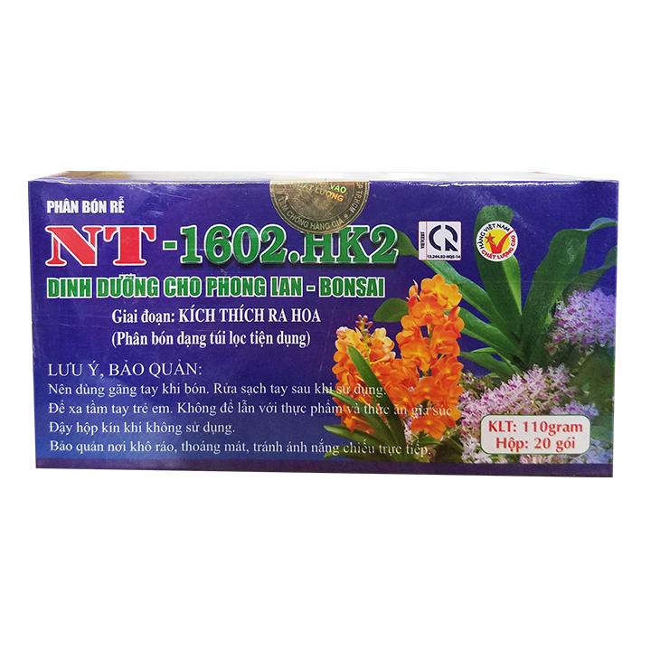 Phân bón rễ NT.1602.HK2 (110g/hộp - 20 gói túi lọc) | Giai đoạn kích thích ra hoa | Chuyên dùng cho phong lan - bonsai