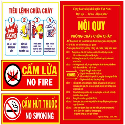 Bộ nội quy tiêu lệnh Phòng cháy chữa cháy chất liệu tôn cao cấp
