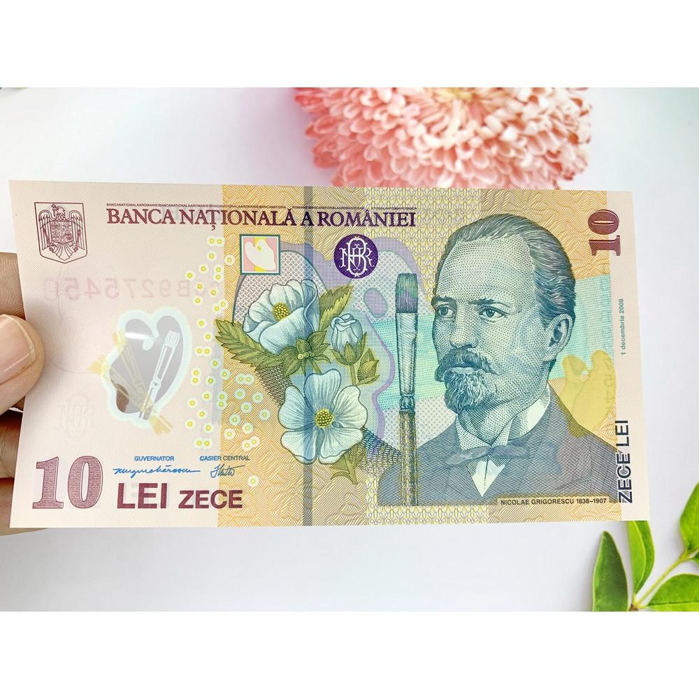 Tiền 10 Lei của Romania ở châu Âu, tiền Polyme , tặng phơi nylon bảo quản tiền