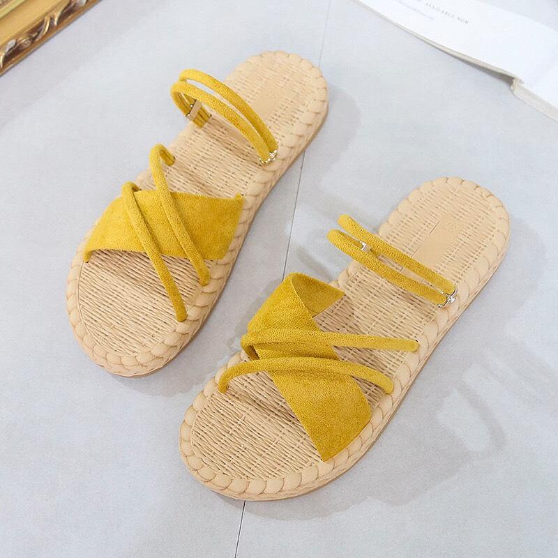Dép Sandal nữ đế bằng quai chéo da lộn êm chân đi được 2 kiểu-SB15