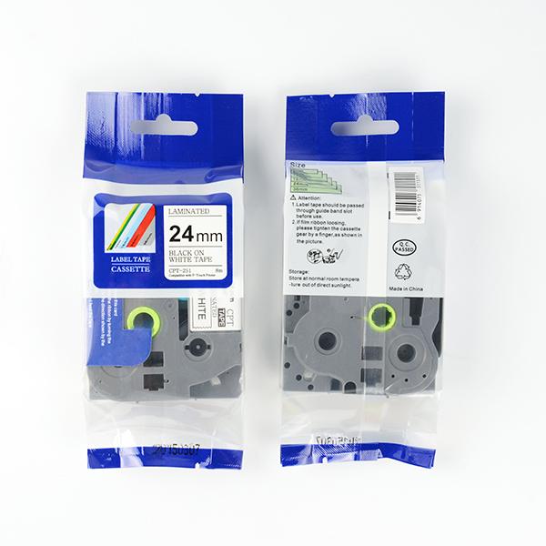 Tape nhãn in tương thích CPT-251 dùng cho máy in nhãn Brother P-Touch (chữ đen nền trắng, 24mm)