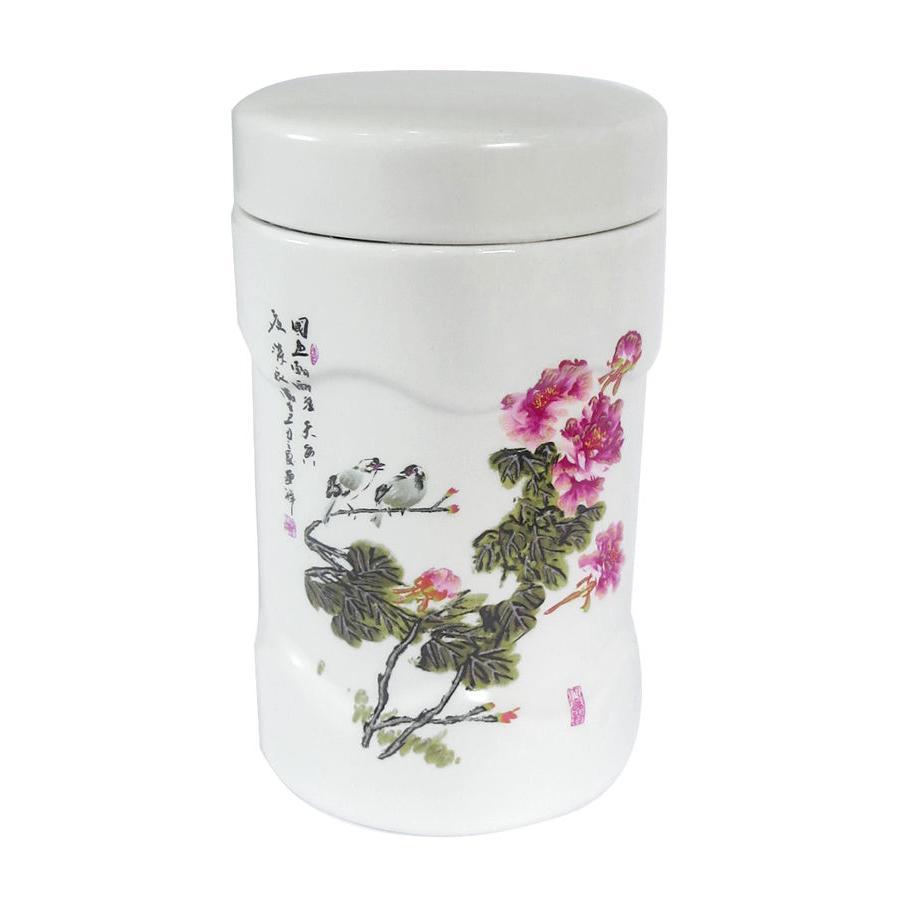 Hộp sứ đựng trà hoa đào