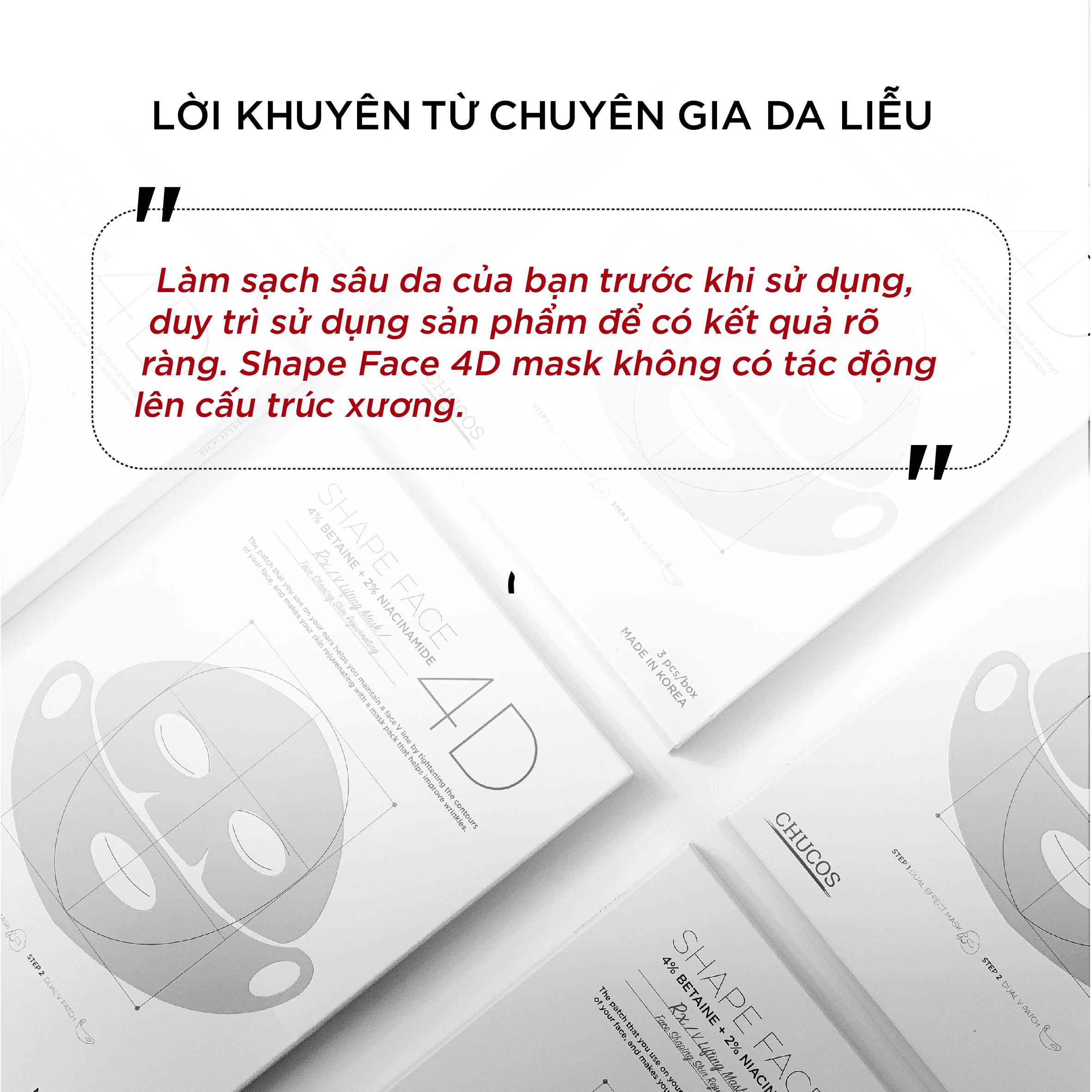 MẶT NẠ V-LINE 4D HAI BƯỚC TÁC ĐỘNG KÉP CHUCOS SHAPE FACE 4D  (HỘP 1 Mask)