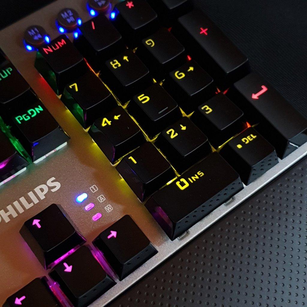 Bàn phím cơ Philips SPK8614 (USB) - Keyboad cơ Philips SPK8614 đèn Led nền cầu vồng - Hàng chính hãng