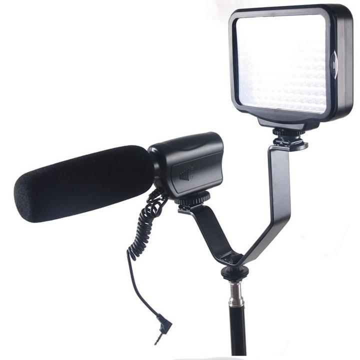 Bracket V chuẩn 3 chân hot shoe gắn đèn Led Flash Microphone