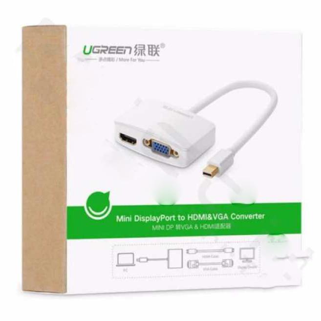 Bộ chuyển Mini Displayport to VGA/HDMI Adapter Ugreen (Trắng) - Hàng Chính Hãng