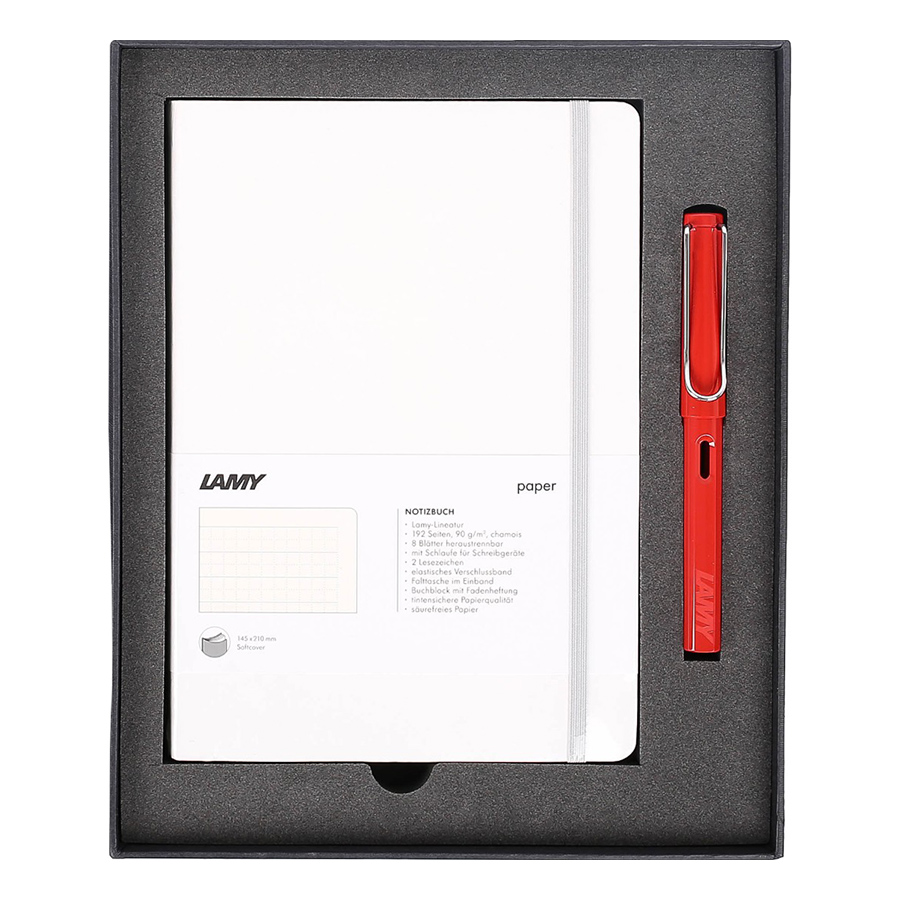Lamy Notebook A5 Softcover White + Lamy Safari Red - GSNSa0030