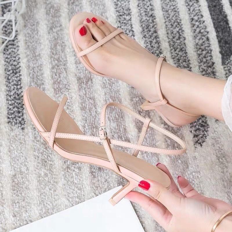 Giày cao gót nhọn 7p quai mảnh nối vòng cổ chân