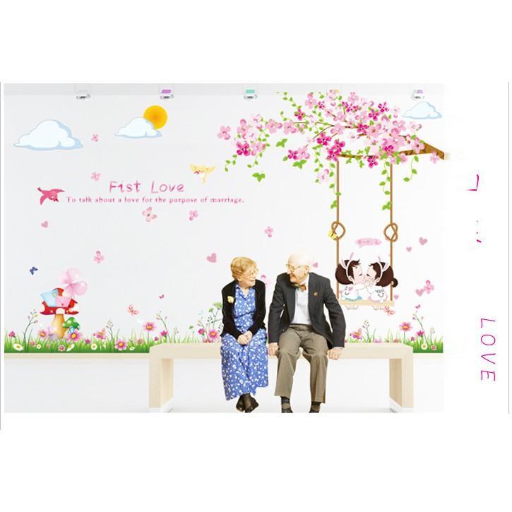 Decal dán tường tình yêu xích đu dễ thương cho bé LC7012AB