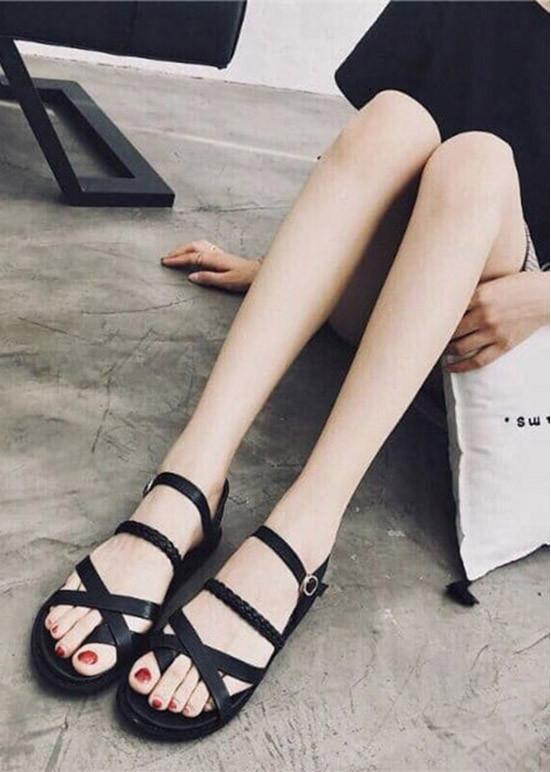 Giày sandal xỏ ngón quai gài đế dày 2cm - D80