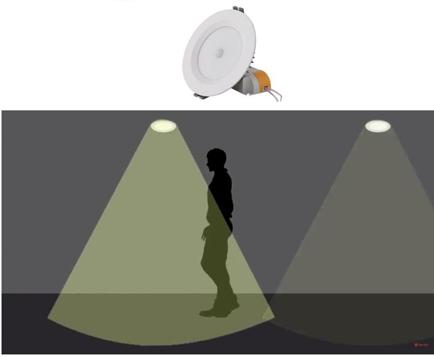 Đèn LED âm trần cảm biến Rạng Đông 7W, vỏ nhôm đúc, khoét lỗ 90mm