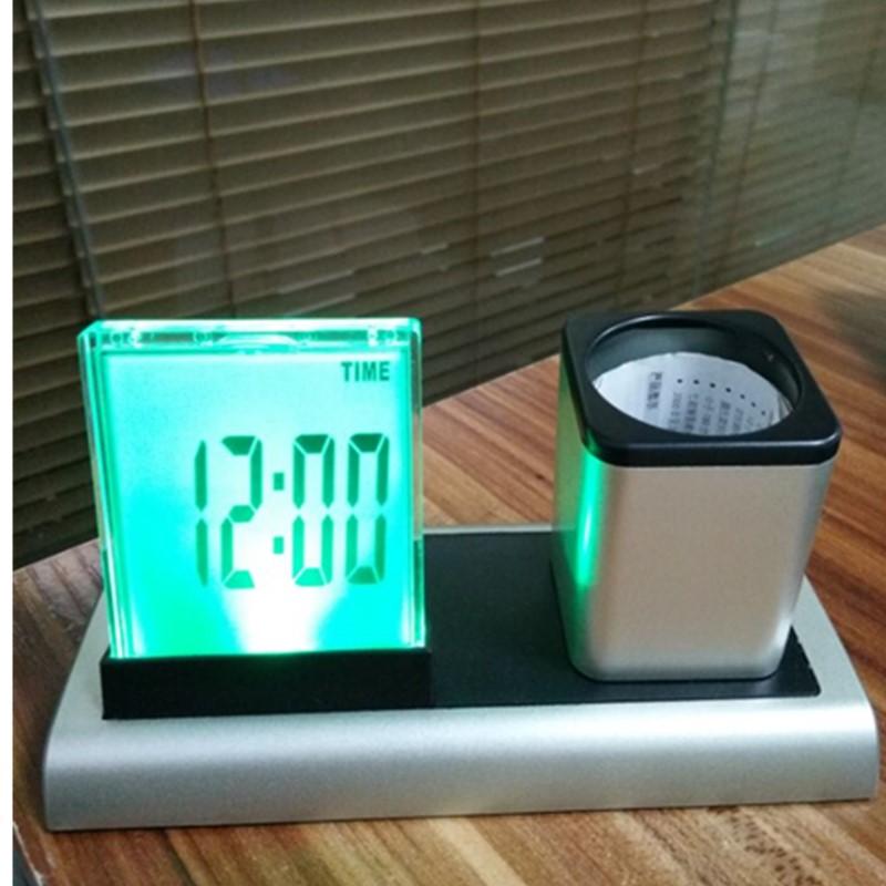 Đồng hồ điện tử để bàn có đèn nhiều màu, có hộp đựng bút đa năng tiện lợi (Tặng đèn led mini cắm cổng USB-Màu ngẫu nhiên)
