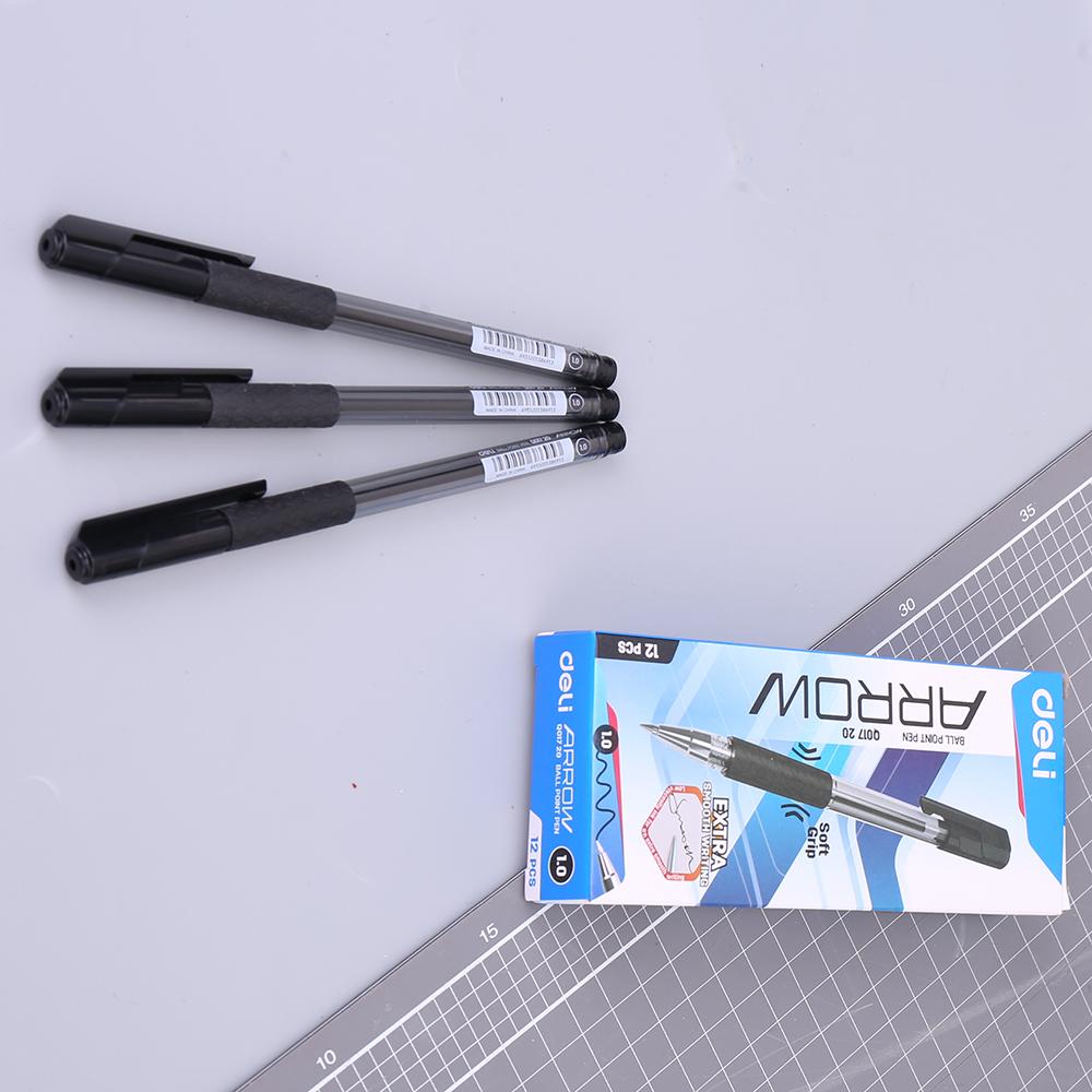 Hộp 12 Cây Bút Bi Dầu Nắp Đậy Arrow 1.0mm Deli EQ01720 - Đen