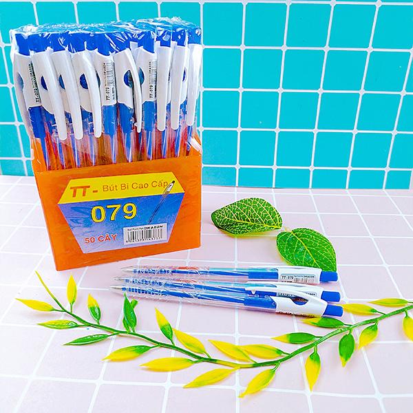 Khay 50 bút bi xanh chất lượng tốt