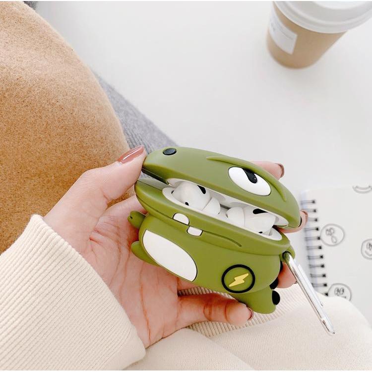 Ốp bảo vệ dành cho Airpods Pro - Khủng long sấm sét _Tặng kèm móc khóa mèo con ngồi hộp